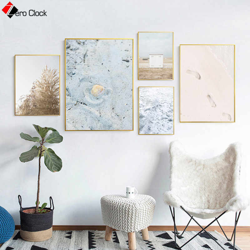 Beach Poster Landscape Canvas Painting Coastal Decor Neutral Blue Beige Wall Art Nordic Decoration Wall Pictures for Living Room