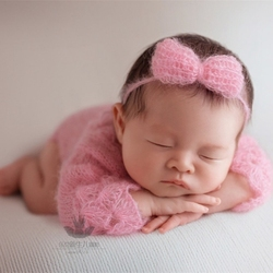 Crochet Baby Girl Open Back Romper and Headband Baby Girls Outfit Clothes Infant Overalls Knitted Overalls Photography Props