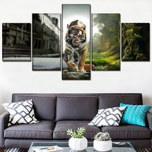 Wall Home Decorative Poster Canvas Printed Painting One Set 5 Piece Steampunk Abstract Animals Tiger Poster Modern Artwork(China)
