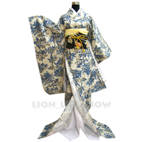 Japanese Traditional Long Sleeve Furisode Kimono Blue Floral Cosplay Costume