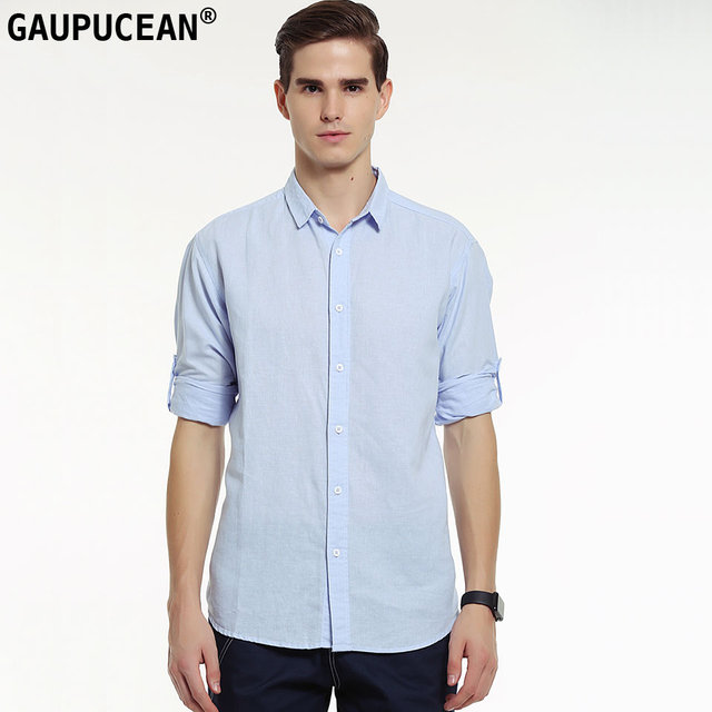 011f2386c39f Genuine Gaupucean Man Shirt Linen Cotton Summer Spring Cool Long .