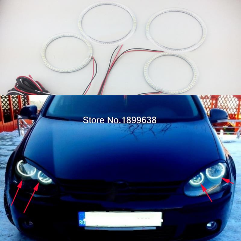 4pcs/set Super bright 7000K white 3528 smd led angel eyes halo rings car styling For Volkswagen VW Golf 5 V MK5 2003-2009 hochitech white 6000k ccfl headlight halo angel demon eyes kit angel eyes light for vw volkswagen golf 5 mk5 2003 2009
