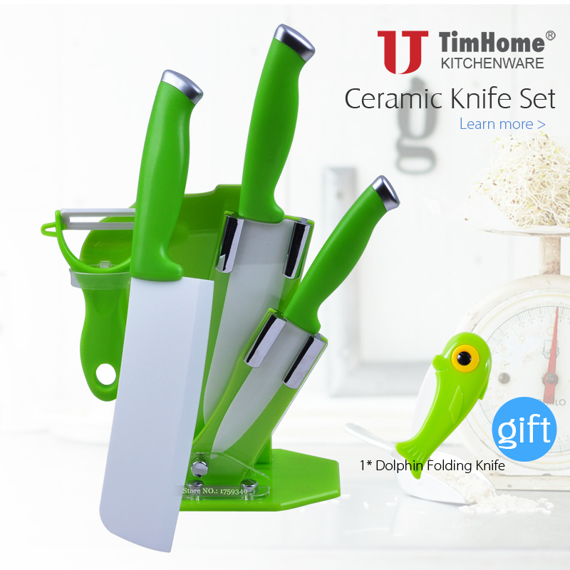 Folding Knife As Free Gift 5pcs Cleaver Ceramic Knife Set With Holder 6.5