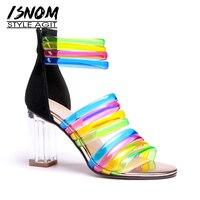 ISNOM Transparent High Heels Sandals Women Open Toe Footwear Mix Color Sandals Ankle Strap Shoes Summer Shoes Woman