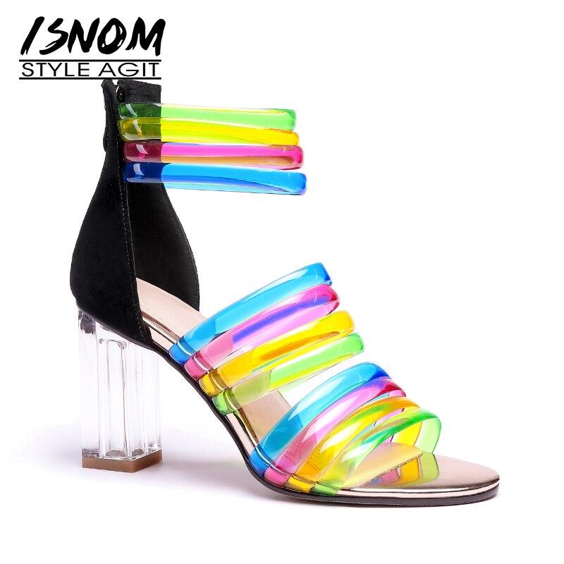 ISNOM przezroczyste wysokie obcasy sandały kobiet Open Toe obuwie Mix kolor sandały pasek stawu skokowego buty letnie buty kobieta w Wysokie obcasy od Buty na  Grupa 1