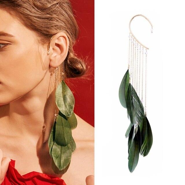 Мода зеленые листья перо Длинные Ленточки манжеты клип серьги без пирсинга сканеры Для женщин Кафф Модные украшения