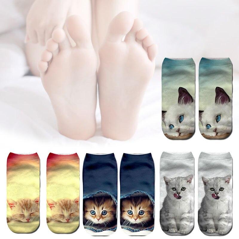 1 Paar 3d Gedruckt Tier Frauen Schöne Socken Nette Katze Mädchen Low Cut Ankle Socken H9
