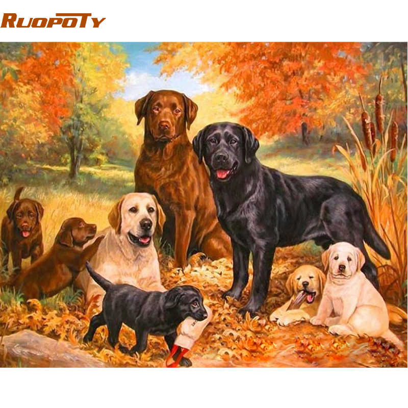 RUOPOTY Frame Dogs Family DIY Painting By Number Animals Hand painted Oil Painting Wall Art Picture Unique Gift For Home Decor