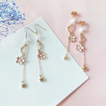 Pink Sakura Romantic Flowers Long Chain Dream Wings Drop Earrings for Girls Cute Simulated-pearl Dangle Earrings Ювелирное изделие
