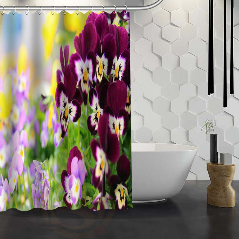Custom Pansies Flower Shower Curtain Waterproof Fabric Bath For Bathroom WJY117 In Curtains From Home Garden On Aliexpress