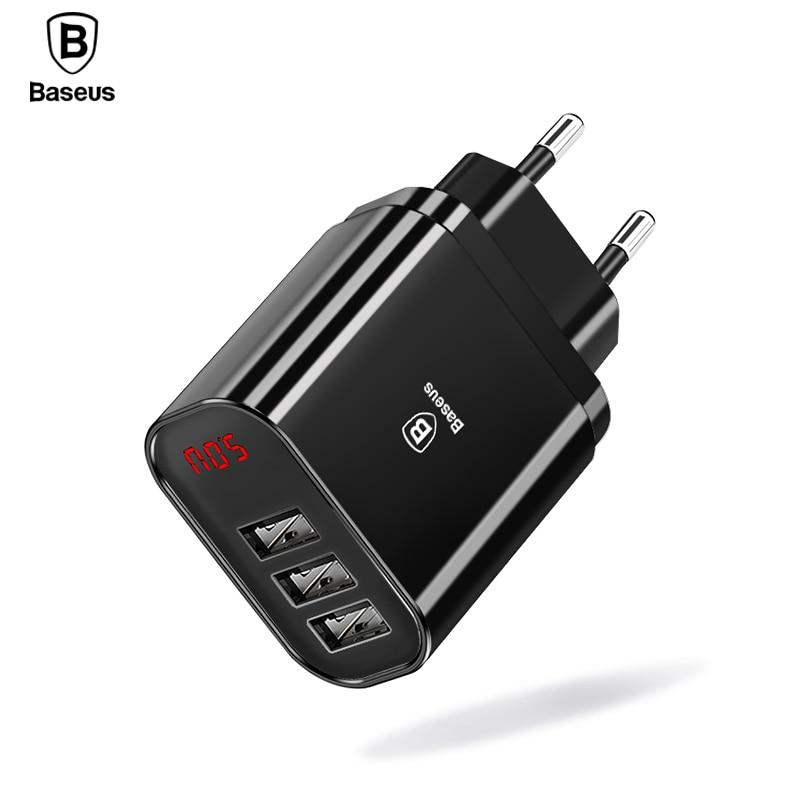 Baseus Multi USB Ladegerät Für iPhone Samsung Xiao mi mi 3.4A Schnelle Lade Reise Wand Ladegerät EU US Stecker LED handy Ladegerät