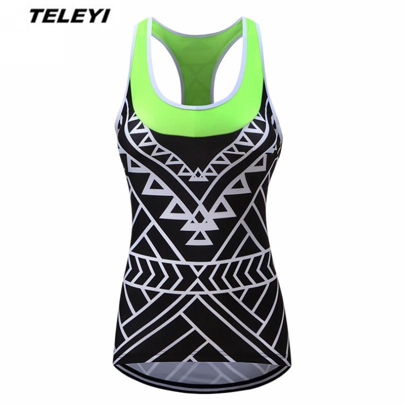 Prix pour 2017 TELEYI Vert vélo Sans Manches VTT Vélo Jersey Femmes de Vélo Clothing Ropa Ciclismo Vélo Chemises Top Maillot Noir