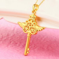Pure 999 24K Yellow Gold Heart Wing Key Pendant 2.2g