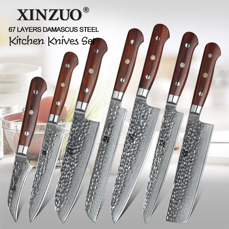 XINZUO 7 Piece VG10 Damascus Steel Kitchen Knife Set Nature Rosewood Handle High Carbon Blade Utility