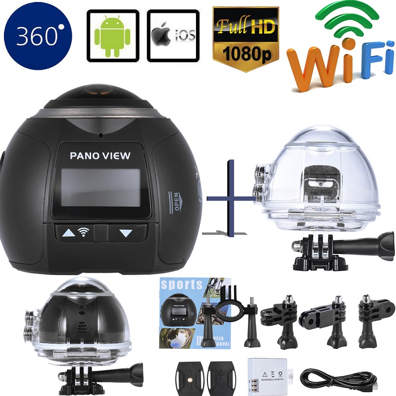 Car DVR Mini Video Camera Wifi Panoramic Waterproof Camera Ultra HD Panorama Camera 360 Degree Sport Action Camera VR