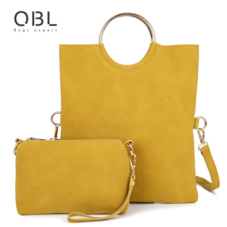 QiBoLu 2017 2pcs Handbag Women Tote Wristlet Bag Messenger Shoulder Crossbody Ladies Hand Bags Bolsas Feminina Bolsos Mujer WB25 feral cat ladies hand bags pvc crossbody bags for women single trapeze shoulder bag dames tassen handbag bolso mujer handtassen