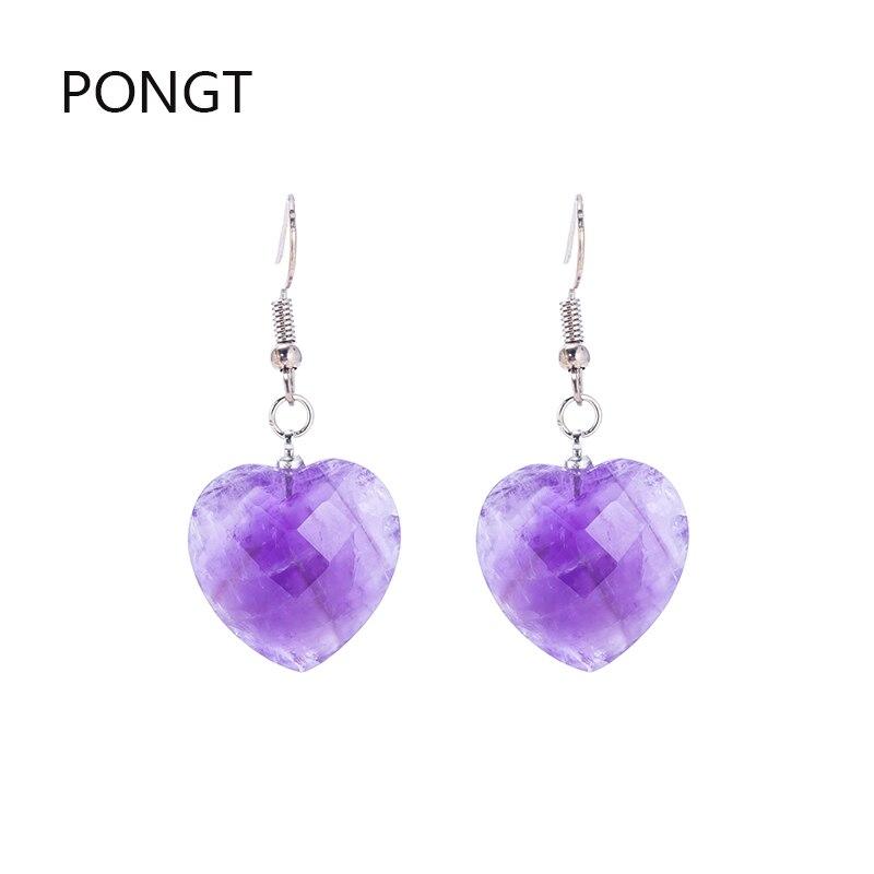 Améthyste Naturelle Quartz Crystal Opal Triangle pendule Dangle Crochet Boucle d/'oreille Pierre