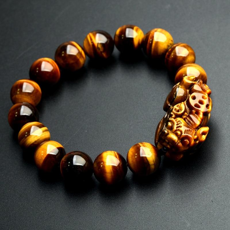 JoursNeige Naturel Jaune Jaune Tigre Oeil Pierre Bracelets 12mm Perles Rondes Pi Xiu Bracelet pour Hommes Femmes Bracelet Bijoux