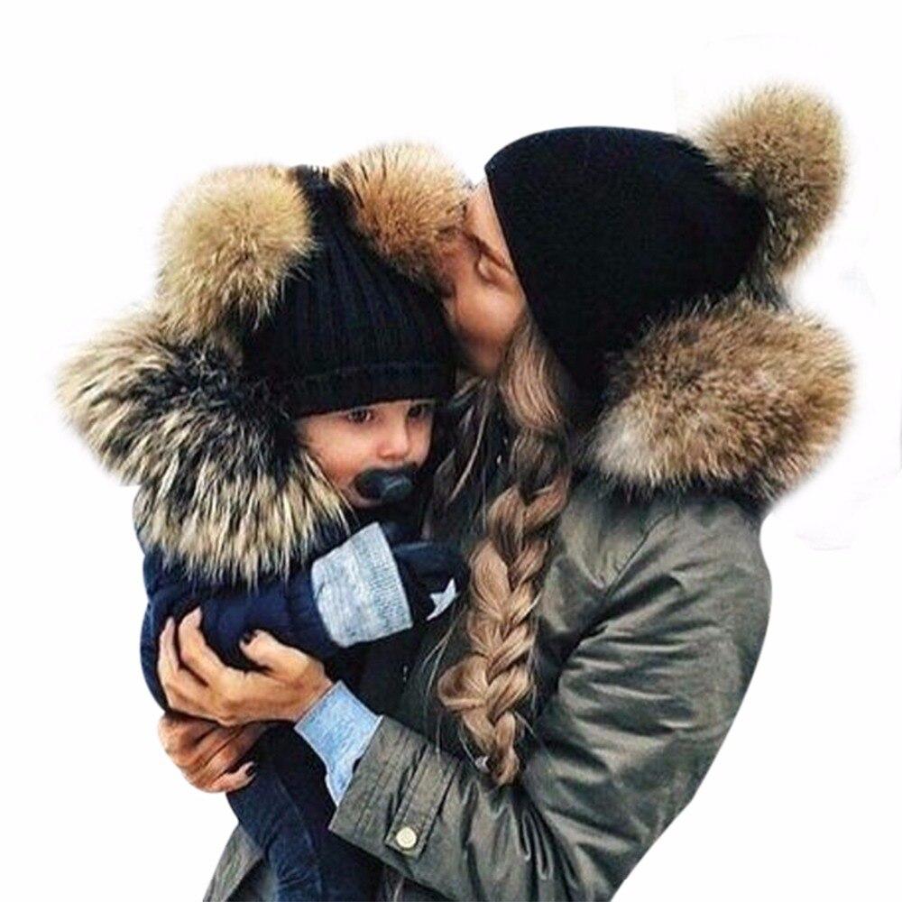 2017 Winter Mom Amp Newborn Faux Fur Ball Hat Baby Boy Girls