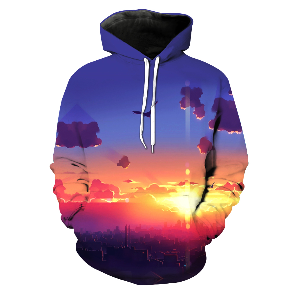 3D Printing Hoodies men Hooded Sweatshirts sky Two Parts Printed Tracksuits Hoome Tops Unisex Free shipping dropship