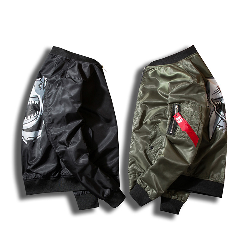 Vantanic Jacket Coat Men Printed Bomber Jacket Pilot Clothing Outerwear Coats Stand Collar Plus Size S-4XL Windbreaker Coat JTK1