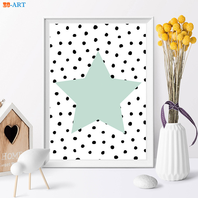 Quote Heart Prints Mint Green Star Poster Wall Art Modern Canvas Painting Room Home