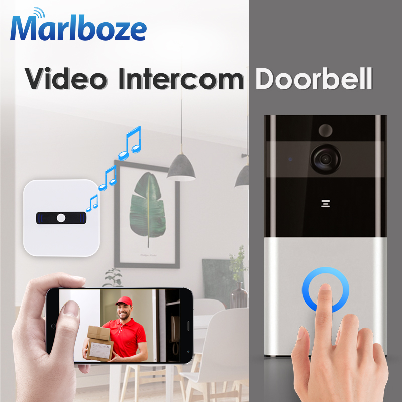 Marlboze 720P WIFI Visual Doorbell Wireless Intercom Doorbell PIR Motion Detection Night View SD card Video Smart Doorbell Ring