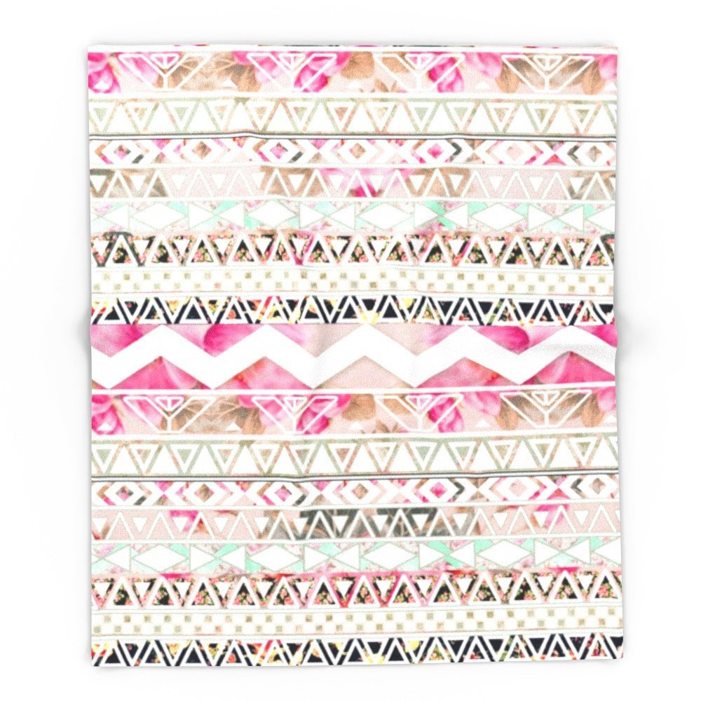 Aztec Spring Time!  Girly Pink White Floral Abstract Aztec Pattern 51 x 60 Blanket
