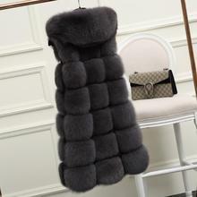 Шуба из искусственного лисьего меха куртка с капюшоном из искусственного меха зимняя теплая Женская Лоскутная куртка Верхняя одежда женские длинные жилеты L1084