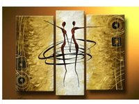 Handpainted 3 Panel Wall Art Decorations For Home Modern Abstract Oil Painting On Canvas Dance Girls
