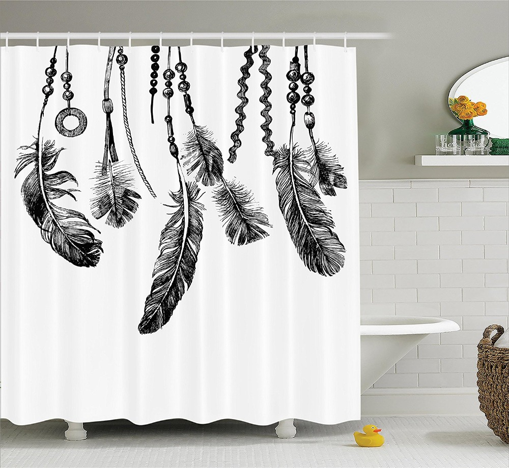 Kraken shower curtain - Shower Curtain Feathers Icon For Wisdom And Strength Graphic Printing Waterproof Mildewproof Polyester Fabric Bath Curtain Set