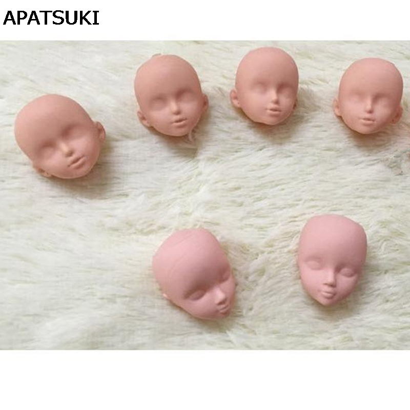 2pcs/lot Soft Plastic Practice Makeup Doll Heads For Barbie Doll For 1/6 Kurhn BJD Doll's Practicing Makeup Head Without Hair uncle 1 3 1 4 1 6 doll accessories for bjd sd bjd eyelashes for doll 1 pair tx 03