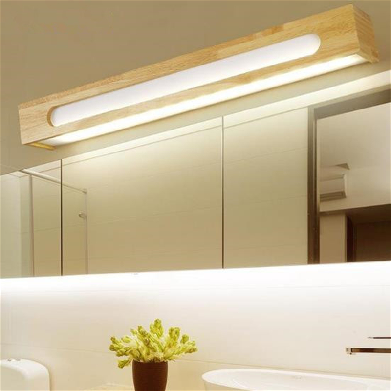 Japanese Style Wood Mirror Light Simple Modern Mirror Bathroom Wall Lamp LED Lamp Wooden Bedroom Light Free Shipping nothern europe black white color pendant lamp wood japanese style restaurant light bedroom light free shipping