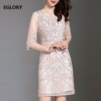 2018 Spring Summer Designer Lux Women Allover Embroidery Sexy See Through Sleeve Slim Fitted Bodycon Sheath Dress Vestido M 4XL