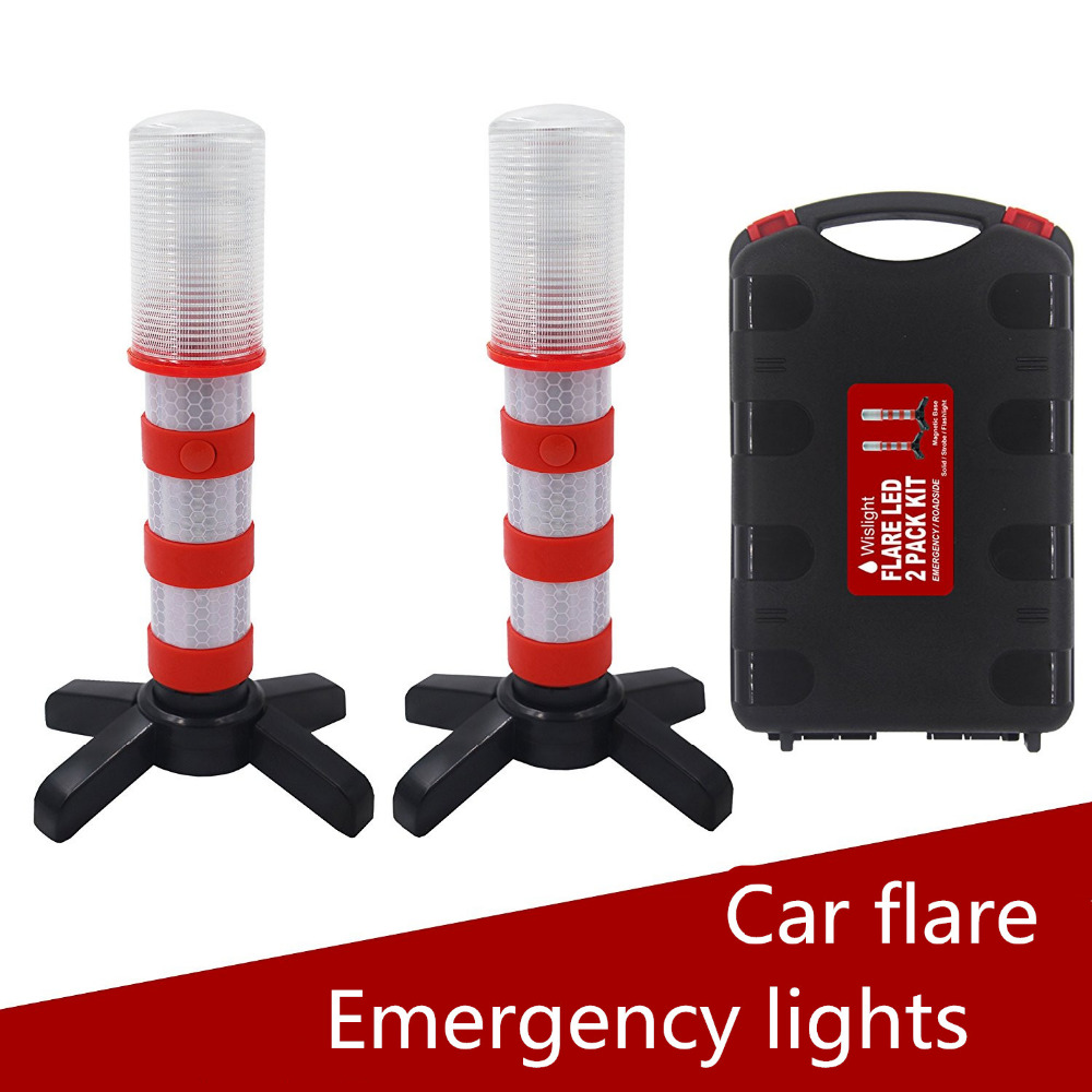 Led Emergency Road Flares Red Roadside Beacon Safety