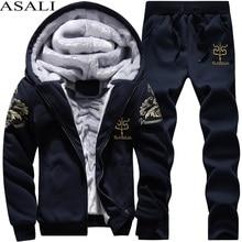 Для мужчин спортивный костюм зимний флисовый капюшон куртка + штаны, толстовка комплект из 2 предметов толстовки спортивные пальто