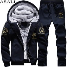 2019 Thicken Men Tracksuit Set Cardigan Winter Fleece Hood Jacket+Pants Sweatshirts Male 2 Piece Set Hoodies Sporting Suit Coat(China)