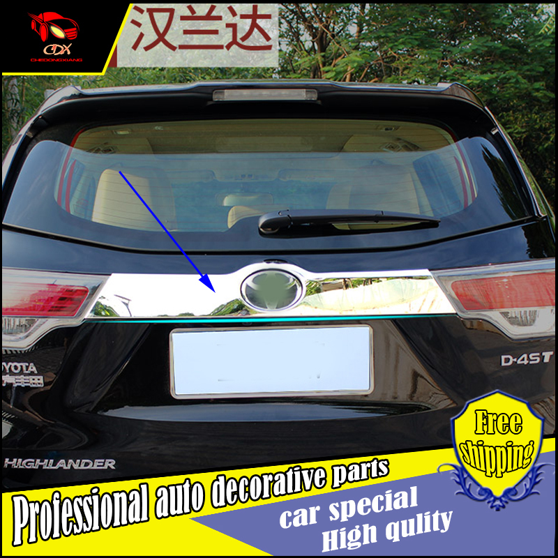Car Styling Chrome ABS Rear Door Tail Gate Trim Cover Sticker For Toyota Highlander 2015 Exterior Decoration Accessories