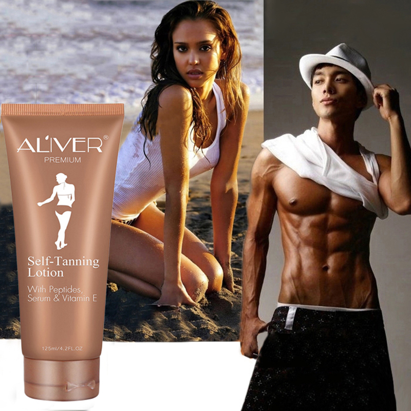 2019 New Peptides Serum VE Self Tanning Lotion 125ML With Flocking Gloves Applicator ABSORBS LESS LOTION NEVER LEAKS,Unisex