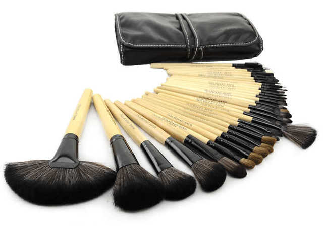 32pcs Makeup Brushes Sets With Pouch Professional Wood Handle Cosmetic Tools Kits Free Shipping