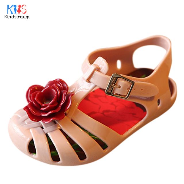S Fl Jelly Sandals Kids New Summer Children Casual Pretty Flower Closed Toe Flats Shoes Top
