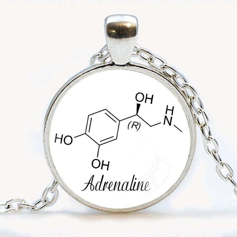 font b Chemistry b font Jewelry Adrenaline necklace Epinephrine Jewelry Glass Pendant Necklace Biology Pendants