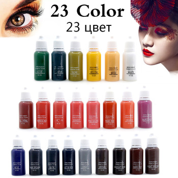 1 Bottle 1/2oz Permanent Makeup 23 colors Micro pigments Tattoo Inks Cosmetic 15ml Kit For Tattoo Eyebrow Lip Make up color Tool
