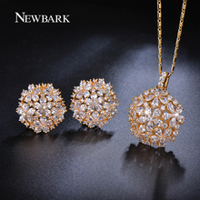 NEWBARK Cluster Flower Design Pear and Round CZ Crystal Jewelry Sets Gold Plated Necklaces Pendant Stud Earrings Gifts for Women