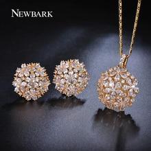 Newbark cluster flor diseño pera y redondo cz crystal set de joyas de oro plateado collares colgante stud pendientes de regalos para las mujeres
