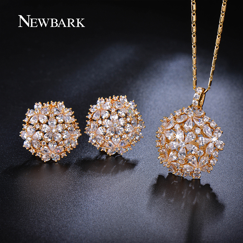 NEWBARK Flower Shaped Cubic Zirconia Jewelry Sets Trendy Plant Gold-color Copper Necklace/Earrings For Women Fashion Accessories