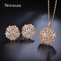 NEWBARK Exquisite Flower Cluster Earing And Necklace Sets Water Drop Cut CZ Diamond Trendy Jewelry Sets