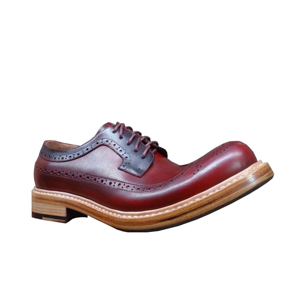 Ayakk.'ten Resmi Ayakkabılar'de Sipriks Lüks Tasarımcı Erkek Goodyear Welted Ayakkabı Yuvarlak Ayak Şarap Kırmızı Resmi Buzağı deri ayakkabı Patron Brogue Wingtip Elbise Erkekler'da  Grup 3