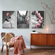 Flowers Street Roses Decor Wall Art Canvas Painting Nordic Poster Pictures For Living Room Unframed