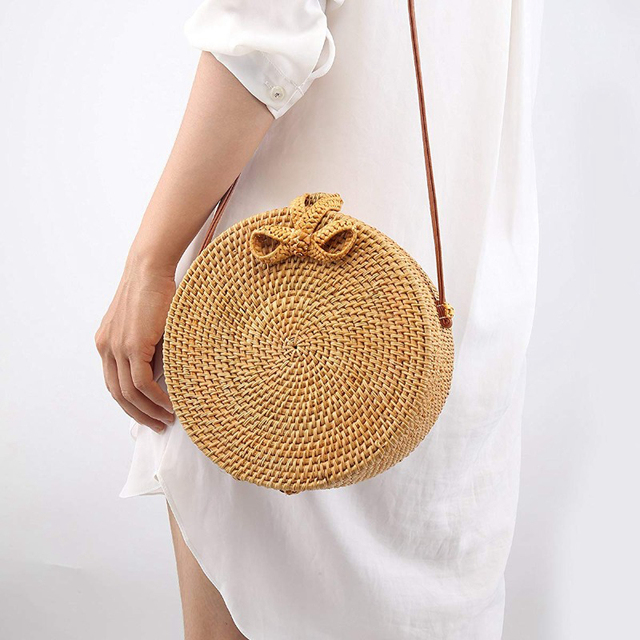 Bali Vintage Handmade Crossbody Leather Bag Round Beach Bag Girls Circle Rattan bag Small Bohemian Shoulder bag